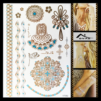 VT362 Factory Sale Gold Custom Metallic Temporary Tattoo