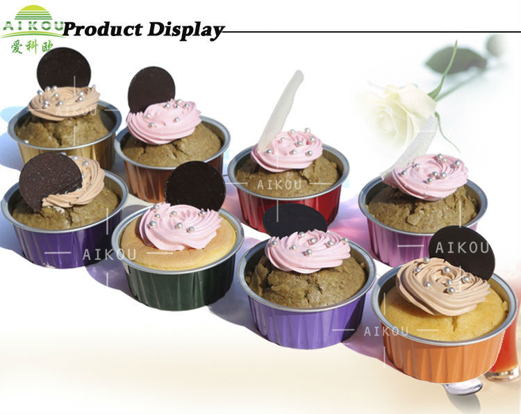 High End Colorful Disposable Ice Cream Cake Cup Aluminum Foil Cup ...