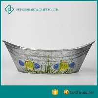 Boat Shaped Vintage Metal Flower Planter For Indoor Ornament