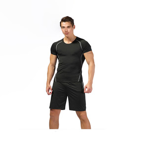 Active Sportswear Mens Workout Clothing Quick Dry Breathable Sweat Suit Set with Tops and Shorts