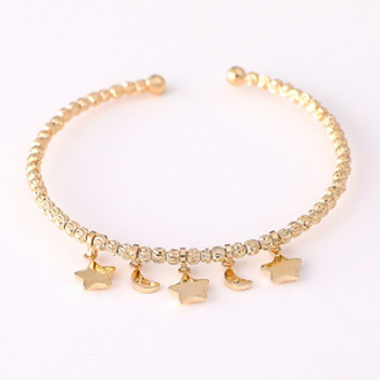 Wholesale Women Jewelry Round Ball Moon Star Copper Chain Bracelets For Girl