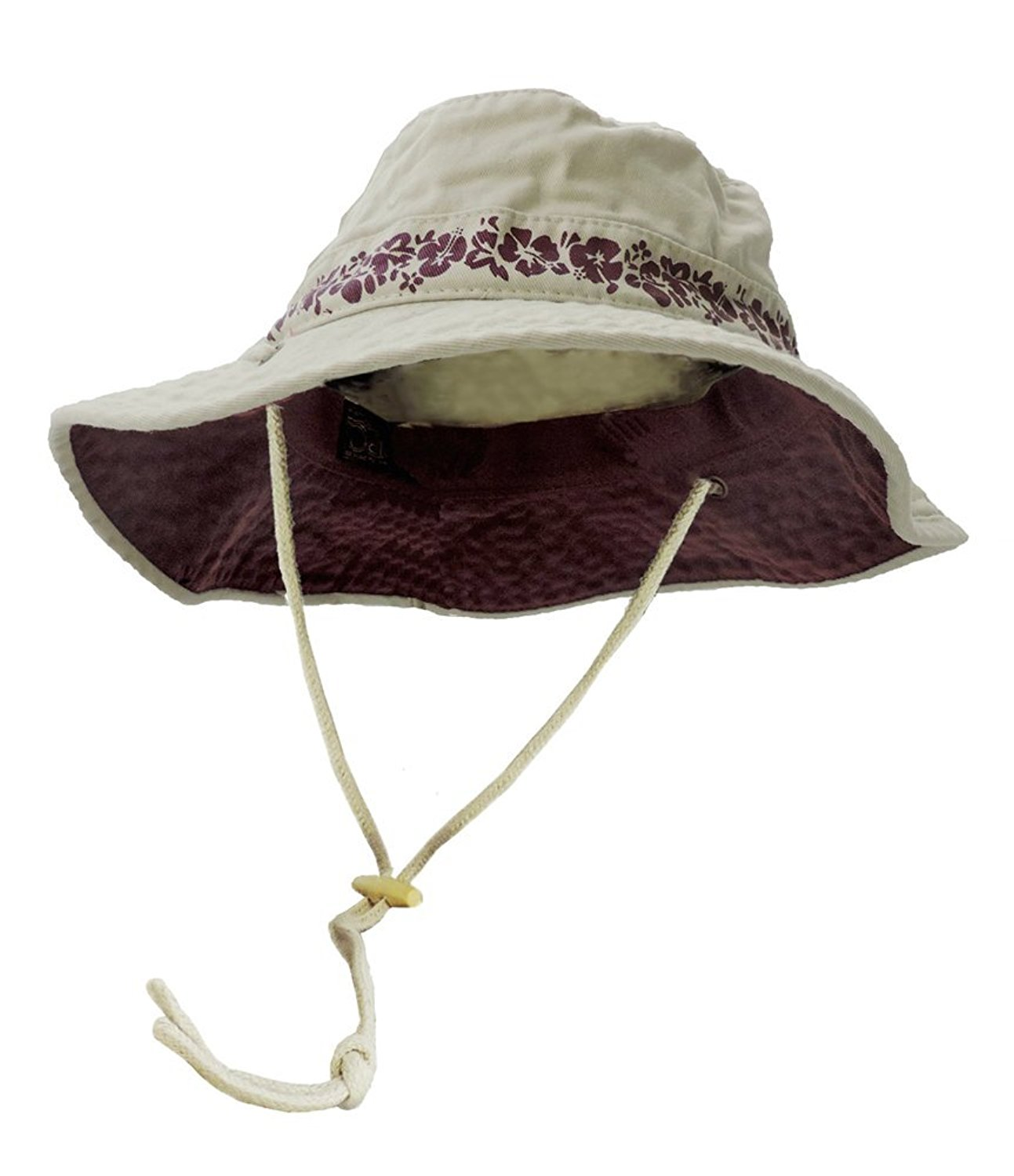 Dorfman Pacific SPF +50 Cotton Twill Boonie Sun Hat With Chin Cord (Large, Burgundy)