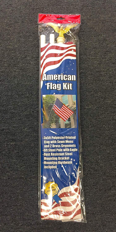 American Flag Kit 6ft Steel Pole 3x5ft Polyester Printed Flag