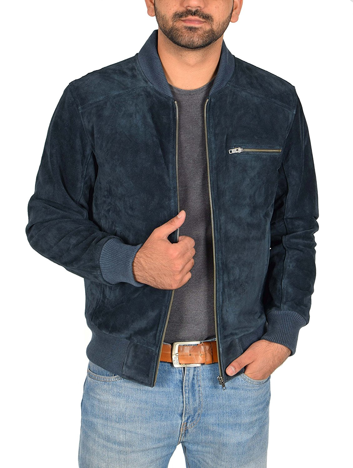 Mens Classic Fit Baseball Genuine Soft Suede Leather Bomber Jacket Reg Blue