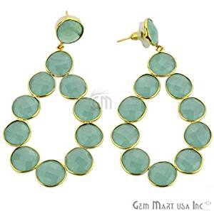 Aqua Chalcedony Component Gemstone Bezel Component Earnings 24k Gold Plated , 77x40mm,1 Pair (ADER-90035)