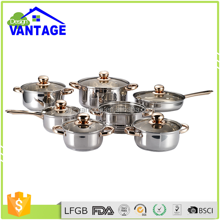 Upsacle wide edge stainless steel 13pcs cookware steam waterless cooking with kitchen tools silicone pot holder set