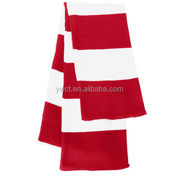 Long Acrylic Knitted Red And White Striped Pattern Neck Warmer Scarf