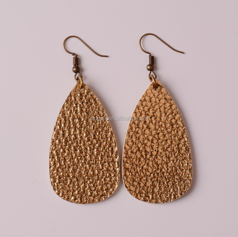 Fashion Teardrop Leather Earrings Antique Looking Various Colors Leather Dangle Earrings