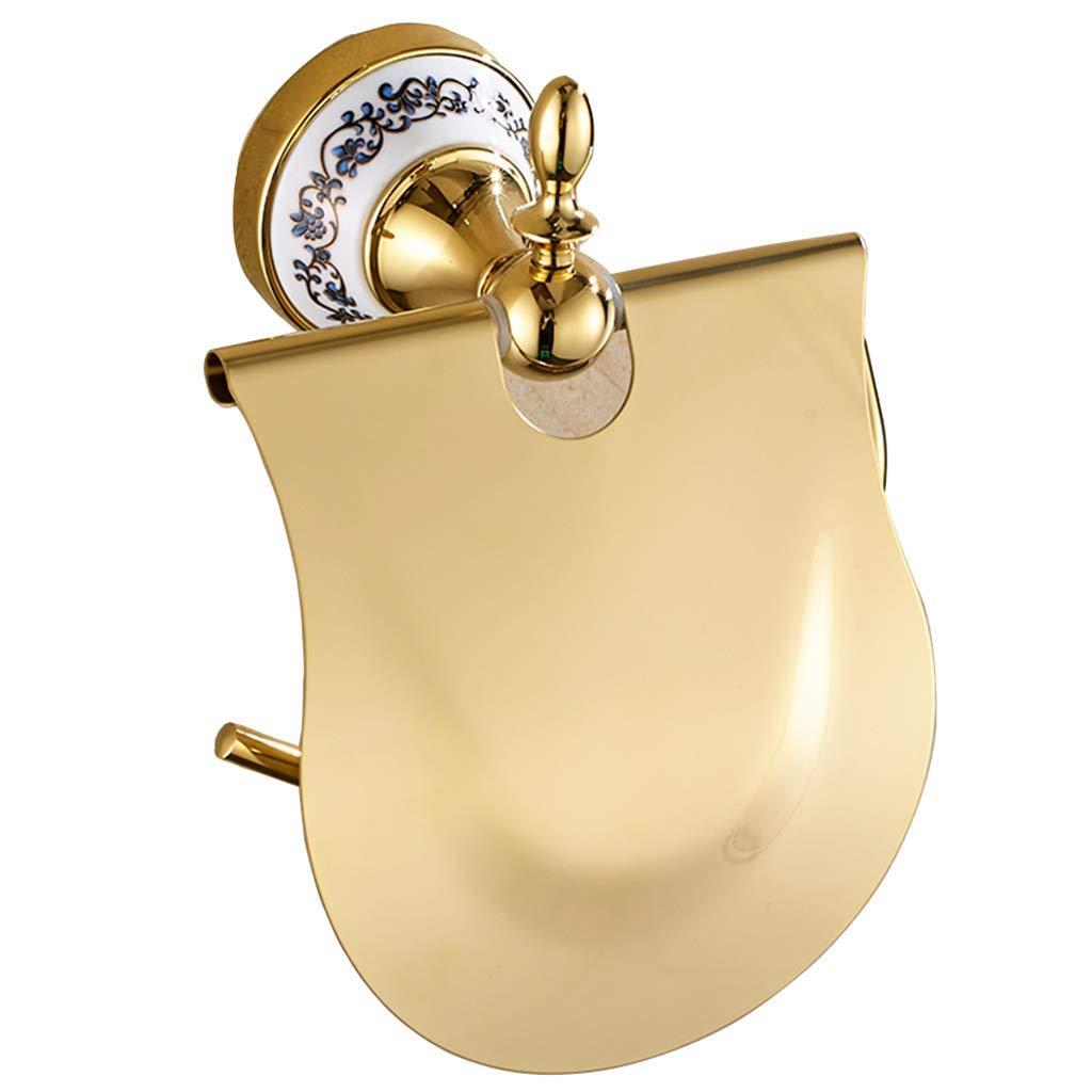 ZhaoLiRuShop Toilet Paper Holders Toilet Paper Rack Paper Towel Rack Vintage Gold Toilet Paper Holder Blue White Porcelain Stainless Steel Paper Towel Holder Toilet Toilet Free Punching