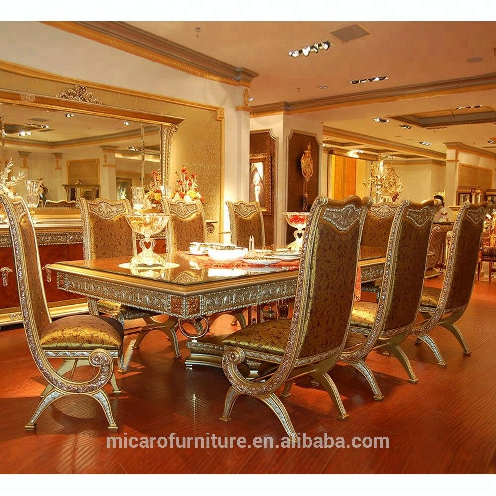 8a8f4eb8860 Italian classic style luxury 8 seater wooden dining table set with brass  legs