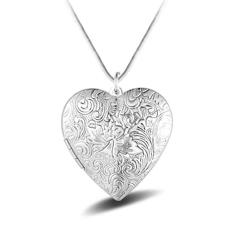 Bishun Heart shaped Silver Necklace Photo Frame Pendant Necklace
