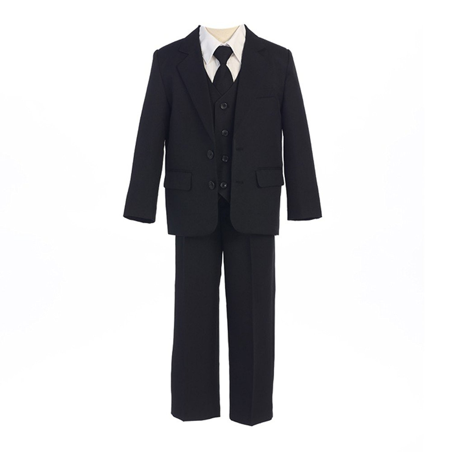 9caab786c4b Get Quotations · Sweet Kids Big Boys Black Button Jacket Vest Shirt Tie  Pant Suit 8-20 Husky