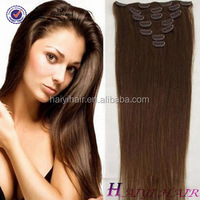 Full head Set 18inch Clip In Human Hair Extension, Indian Remy wholesale 200 gram clip in remy hair extensions 7 piece