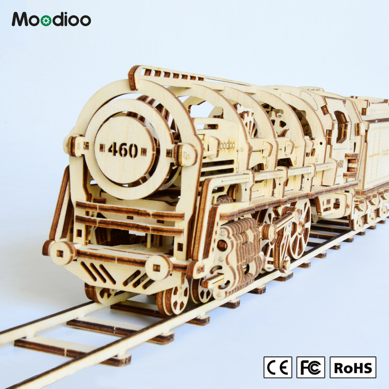 Moodioo New educational toy ugear assembling wooden diy building train 3D puzzle