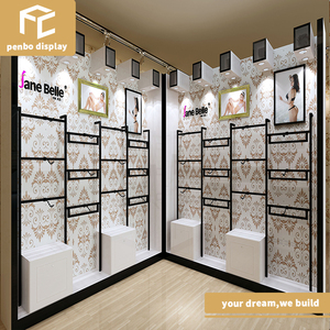 wholesale retail clothes shop interior design garment shop furniture  fitting wooden MDF clothing display stand rack