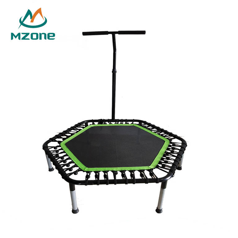 Mzone Corda elástica de Fitness Adulto Jumping Exercício Trampolim Rebounder Ginástica Mini Interior do Hexágono Com T Handle Bar Para Adulto