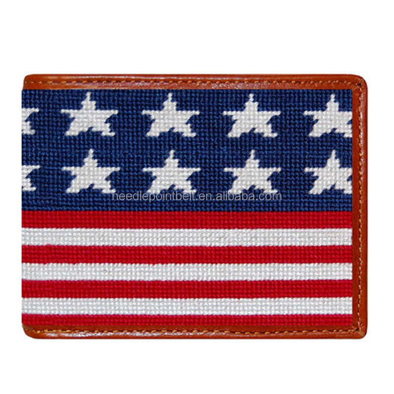 2017 Old Glory Bi-fold Wallet Men Genuine Leather Customize