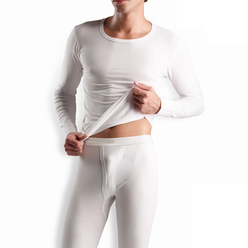 Men's clothing elastic o-neck solid color thermal underwear set white 100% basic cotton long johns long johns