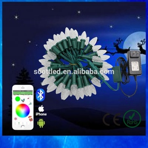 Bluetooth Wireless Smart APP controlled led C9 Christmas light set WS2811 addressable decorations waterproof transparent cover