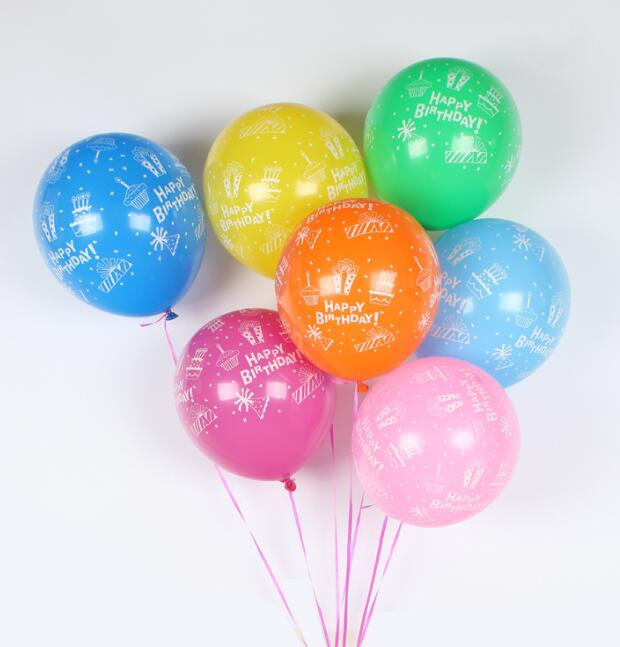 12inch 2.8g Happy Birthday Latex Balloons Party Decoration Printing Butterfly Ballons Birthday Supplies Globos