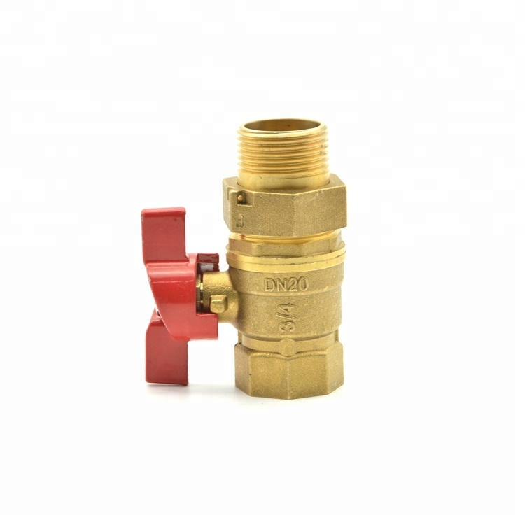 High quality gas ball valve price DN20 brass butterfly handle ball valve with union full brass