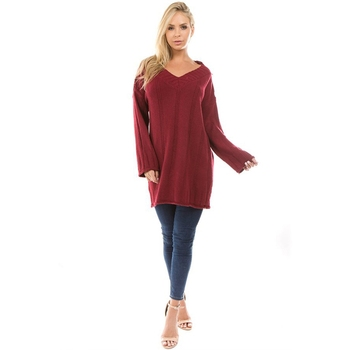 5fd348148b 4 Colors Korean Style Knitted Drop Shoulder Over sized Long Women Pullover  Sweater