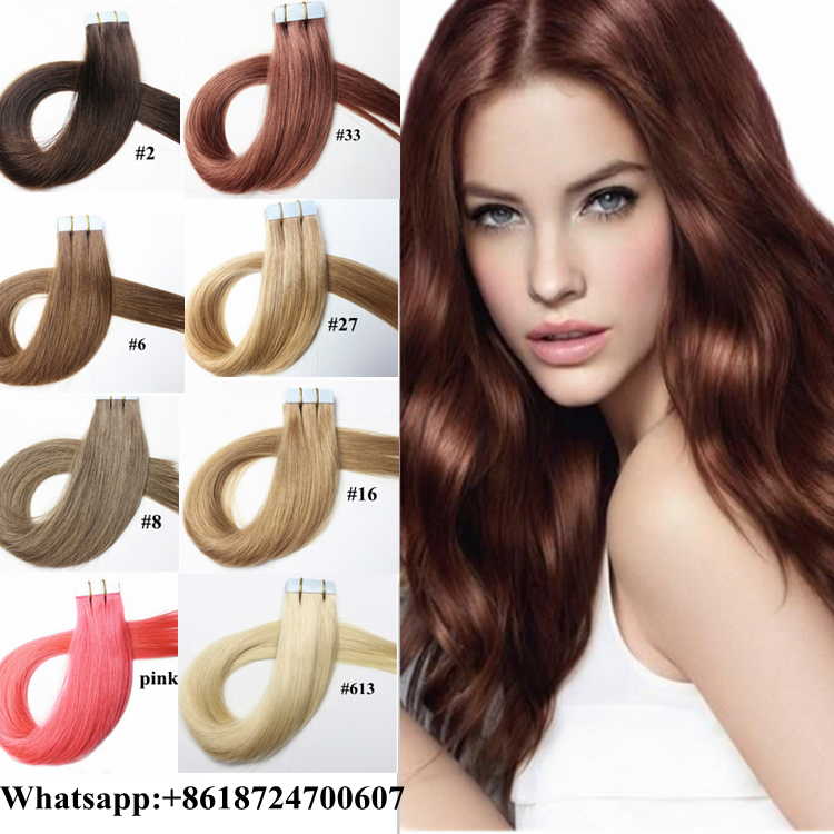 Top quality virgin unprocessed tape hair extensions brazilian hair human