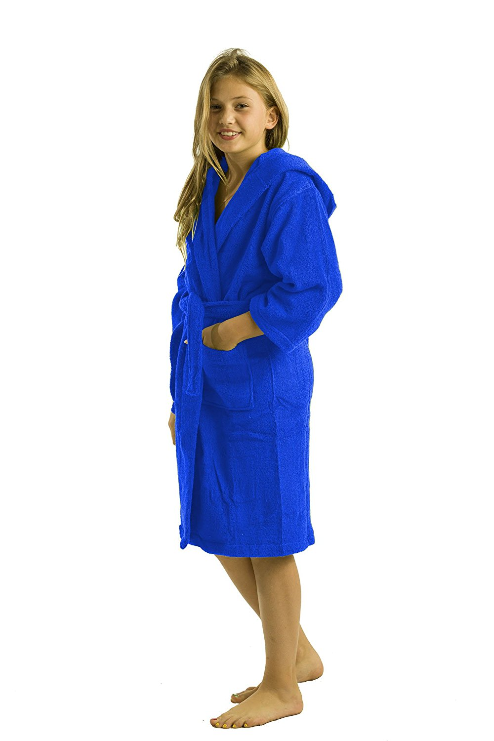 Get Quotations · Terry Bamboo Cotton Hooded Robe Bathrobe Girls 7fb39475c