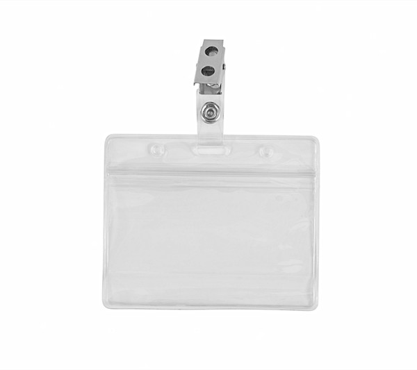 Promotional Metal ID Badge Clips with Clear Vinyl Straps