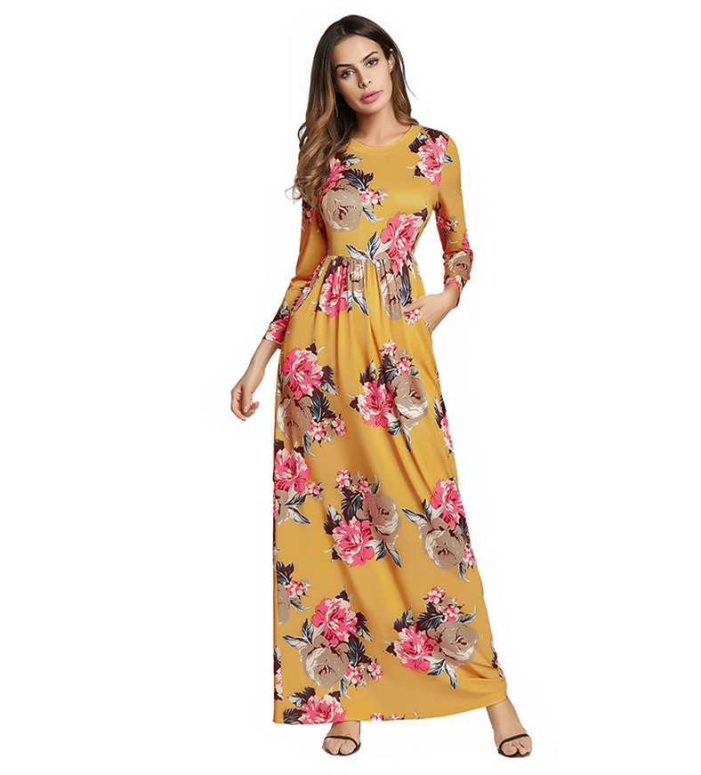 A3649 Yellow Flower Print Square Neck Vintage <strong>Dress</strong> Women Loose 2018 Autumn Three Quarter A Line <strong>Dress</strong>
