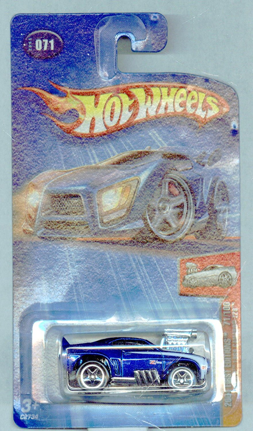 Hot Wheels 2004-071/100 First Editions Blue 'Tooned 1969 Camaro Z28 1:64 Scale