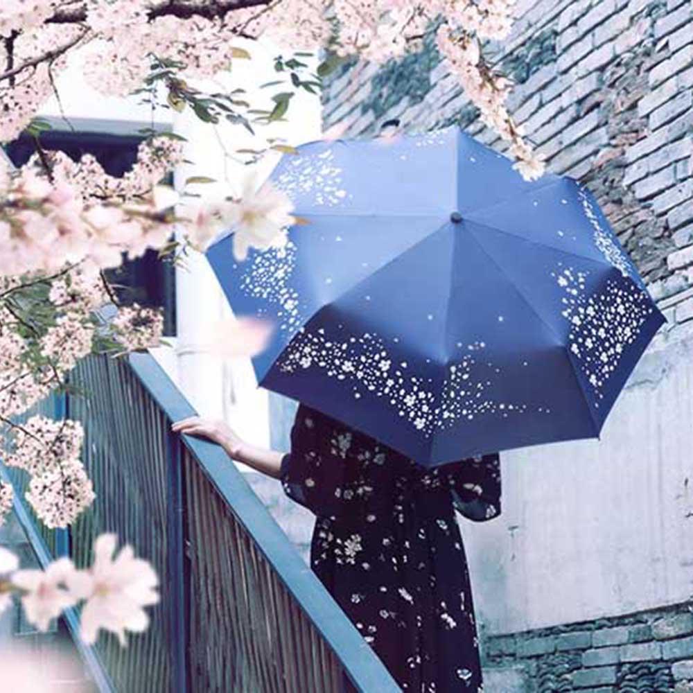 Неавтоматическое sunnny зонтик, 3 раза романтический сакура УФ зонтик, дождь зонтик женщин, живопись mujer parapluie