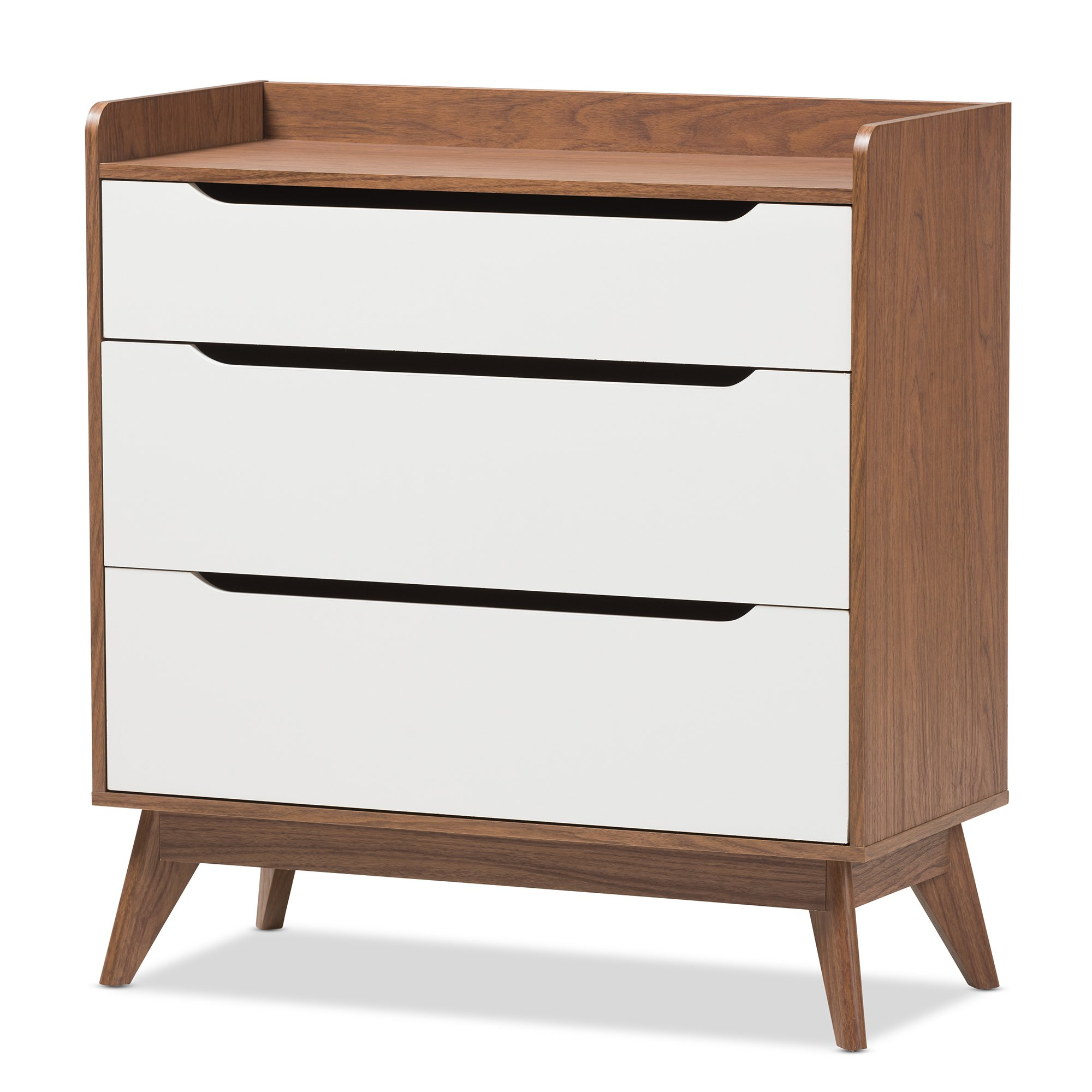 Baxton Studio Chests of Drawers/Bureaus, 3-Drawer Storage Chest, White/Walnut Brown