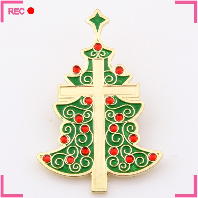 Metal pin badge with your own design, christmas tree shaped badge lapel pins maker