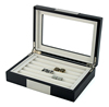 Wooden Rings & Cufflinks Display Box with Glass Cover