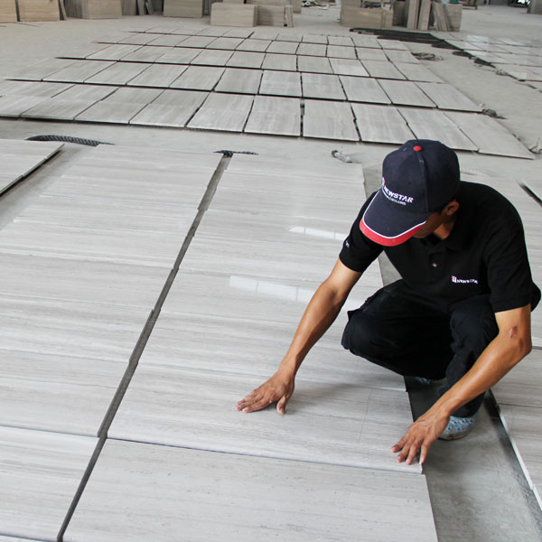 Newstar China polished grey cheap price white wooden grain marble tiles