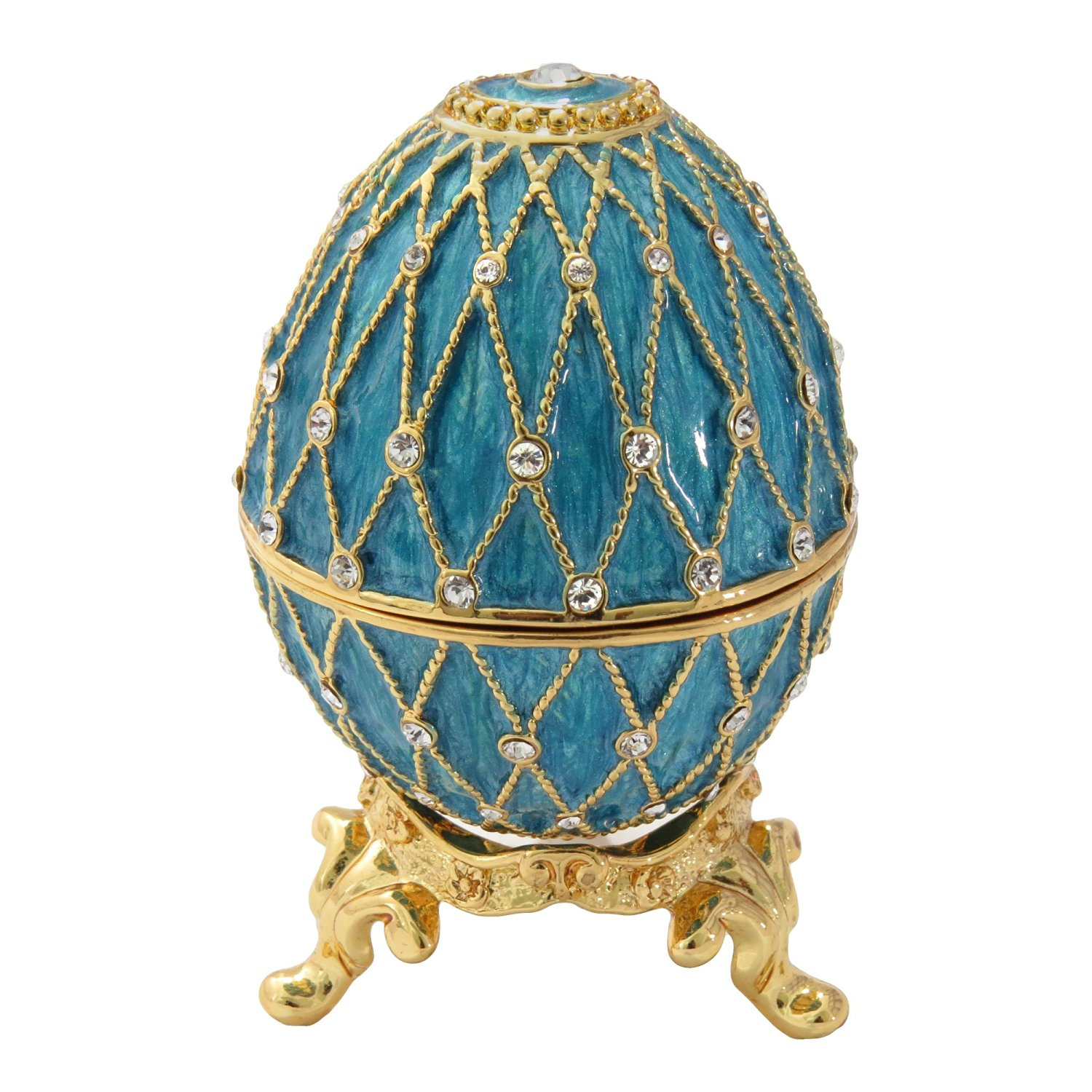 Turquoise Russian Faberge Style Egg and Box Swarovski Element Crystals Trinket Pill Jewelry Ring Holder Box