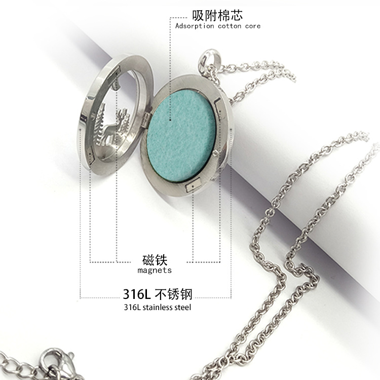 Mode 316L rvs sieraden Chinese stijl Tai Chi ontwerp geur geur diffuser medaillon ketting hanger PJP063