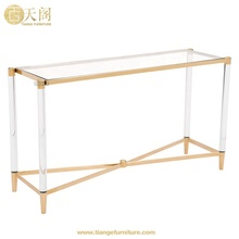 Clear 아크릴 발 (gorilla glass) 금 console 표 와 stainless steel frame