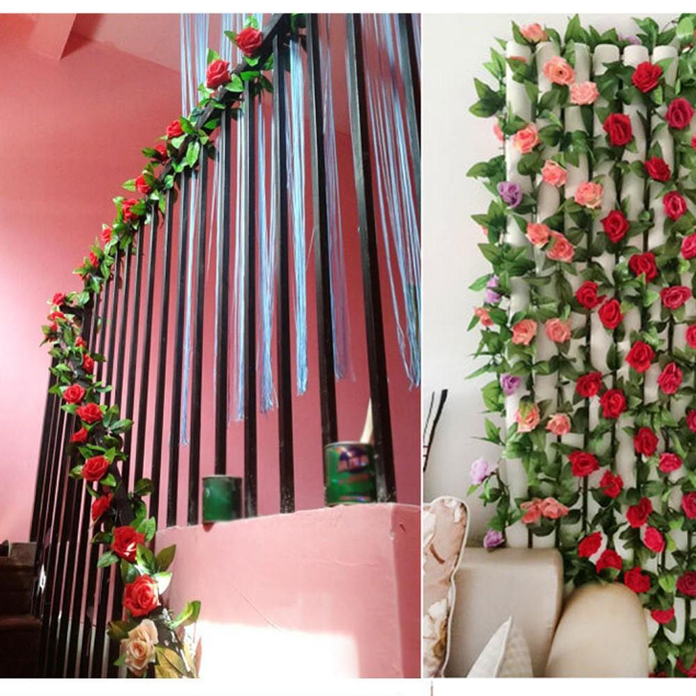 Artificial Rose Garland Flower Vine Ivy Home Decor