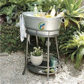 Galvanized Steel Ice Bucket Party Wine Beer Water Cooler