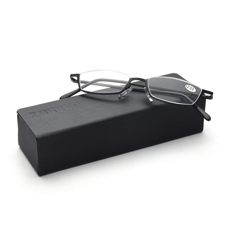 ZUVGEES Vintage Alloy Semi Rimless Reading Glasses Men Women Half Frame Slim Glasses with Stylish Case T0340