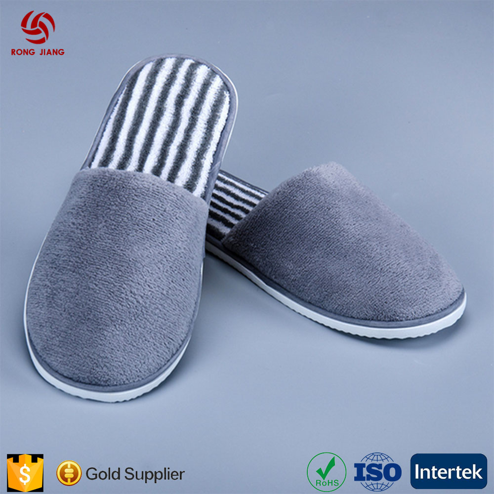 Custom High Quality Anti-slip Hotel Slippers Non-One-Time Thick Coral Velvet Close Toe Slippers for Spa