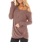 Wholesale Dark Purple One Strap Sweatshirts Ladies Tunic Tops For Women