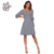 HAODUOYI Women Stripe Dress Female V-neck Lantern Sleeve Drop Shoulder Lace Up Vestidos Ladies Slim Casual Dress for Wholesale