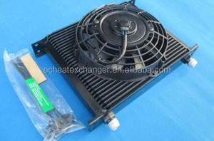 "Universal 30 ROW ENGINE OIL COOLER/TRANSMISSION OIL COOLER + 7"" ELECTRIC FAN"