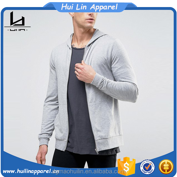 mens gym clothes lightweight jersey zip up muscle fit hoodie