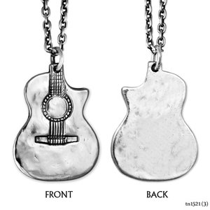 VINTAGE SILVER ZAC BROWN BAND GUITAR PENDANT NECKLACE