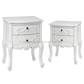 Pair Beautiful French Style Bedside Table 2 Drawer Cabinet Ornate