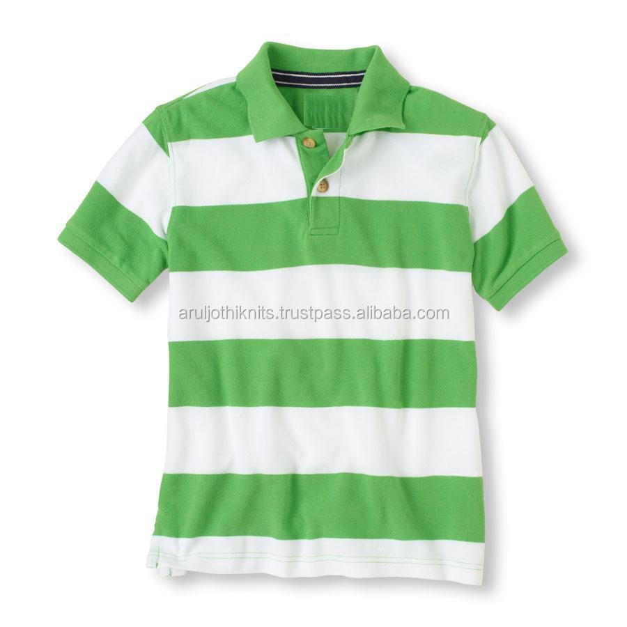 Boys Green And White Striped Polo Shirt Buy Polo Shirt Designkids